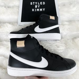 NIKE Court Mid Sneakers Mid Shoes NEW White Black New